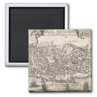 Vintage Pictorial Map of New York City (1672) 2 Inch Square Magnet