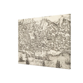Vintage Pictorial Map of New York City (1672) Canvas Print