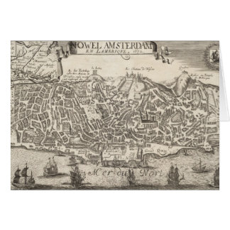 Vintage Pictorial Map of New York City (1672) Card