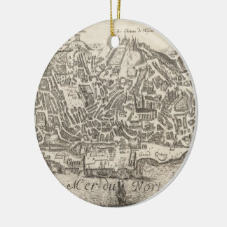 Vintage Pictorial Map of New York City (1672) Ceramic Ornament