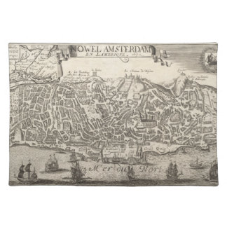 Vintage Pictorial Map of New York City (1672) Cloth Placemat