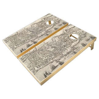 Vintage Pictorial Map of New York City (1672) Cornhole Set
