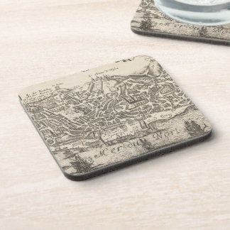 Vintage Pictorial Map of New York City (1672) Drink Coaster