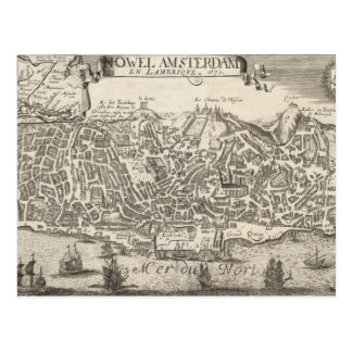 Vintage Pictorial Map of New York City (1672) Postcard
