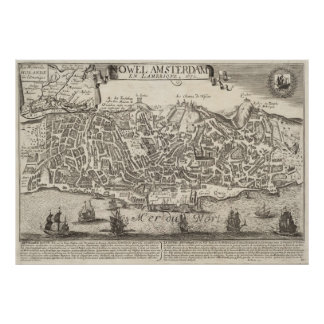 Vintage Pictorial Map of New York City (1672) Poster