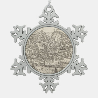 Vintage Pictorial Map of New York City (1672) Snowflake Pewter Christmas Ornament