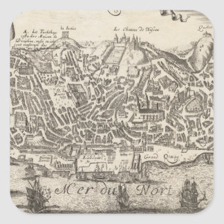 Vintage Pictorial Map of New York City (1672) Square Sticker