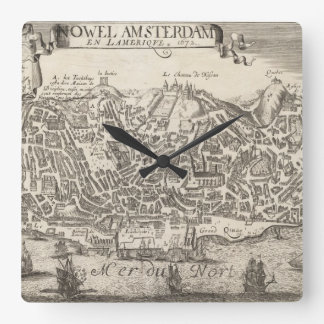 Vintage Pictorial Map of New York City (1672) Square Wall Clock
