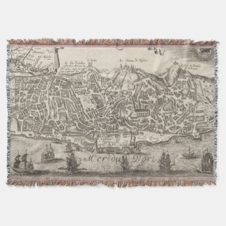 Vintage Pictorial Map of New York City (1672) Throw Blanket