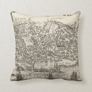 Vintage Pictorial Map of New York City (1672) Throw Pillow