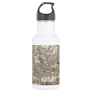 Vintage Pictorial Map of New York City (1672) Water Bottle