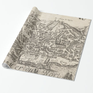 Vintage Pictorial Map of New York City (1672) Wrapping Paper