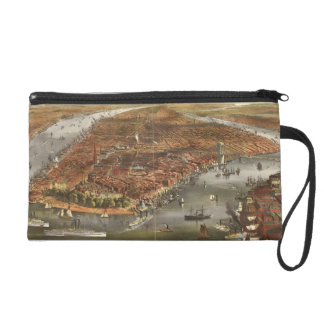 Vintage Pictorial Map of New York City (1870) Wristlet Clutch