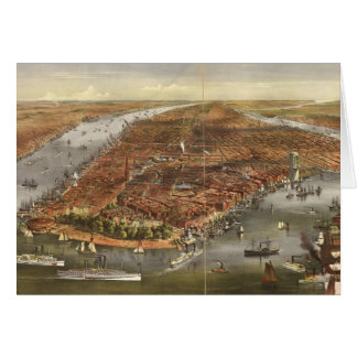 Vintage Pictorial Map of New York City (1870) Card