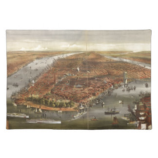 Vintage Pictorial Map of New York City (1870) Cloth Placemat