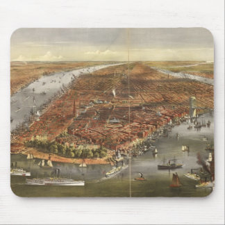 Vintage Pictorial Map of New York City (1870) Mouse Pad