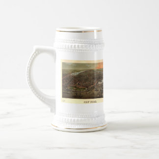 Vintage Pictorial Map of New York City (1873) Beer Stein