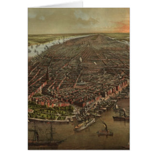 Vintage Pictorial Map of New York City (1873) Card