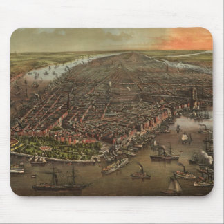 Vintage Pictorial Map of New York City (1873) Mousepads