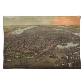 Vintage Pictorial Map of New York City 1873 Placemat