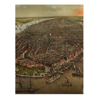 Vintage Pictorial Map of New York City (1873) Postcard