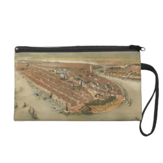 Vintage Pictorial Map of New York City (1874) Wristlet Purses