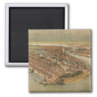 Vintage Pictorial Map of New York City (1874) Magnet