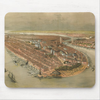 Vintage Pictorial Map of New York City (1874) Mouse Pad