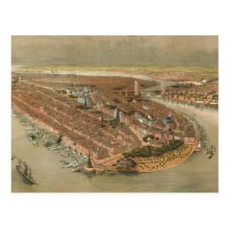 Vintage Pictorial Map of New York City (1874) Postcard