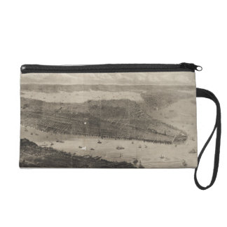 Vintage Pictorial Map of New York City (1876) Wristlet Purses