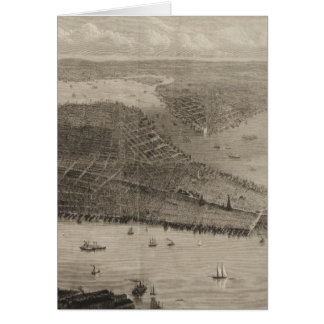 Vintage Pictorial Map of New York City (1876) Card