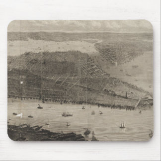 Vintage Pictorial Map of New York City (1876) Mousepad