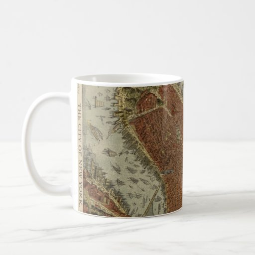 Vintage Pictorial Map of New York City (1879) 2 Mugs