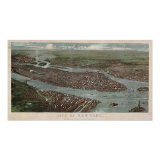 Vintage Pictorial Map of New York City (1879) 3 Poster