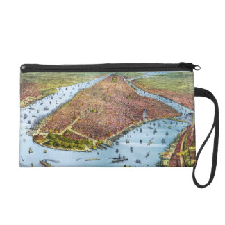 Vintage Pictorial Map of New York City (1879) Wristlet Clutch