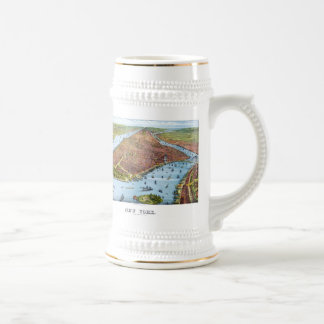 Vintage Pictorial Map of New York City (1879) Beer Stein