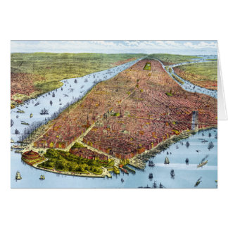 Vintage Pictorial Map of New York City (1879) Card