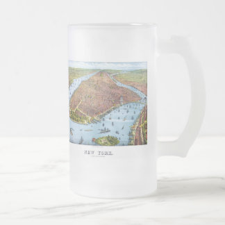 Vintage Pictorial Map of New York City (1879) Frosted Glass Beer Mug
