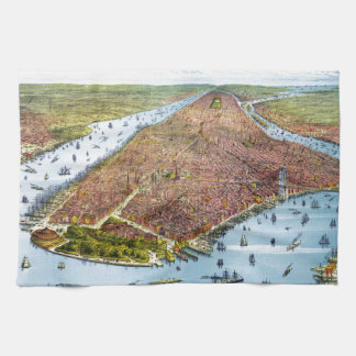 Vintage Pictorial Map of New York City (1879) Hand Towels