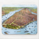 Vintage Pictorial Map of New York City (1879) Mouse Pad