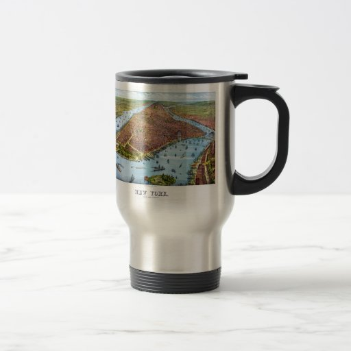 Vintage Pictorial Map of New York City (1879) Coffee Mugs