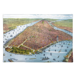 Vintage Pictorial Map of New York City 1879 Placemats