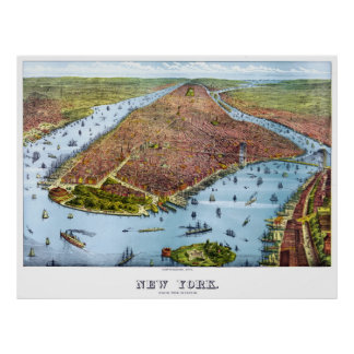 Vintage Pictorial Map of New York City (1879) Poster