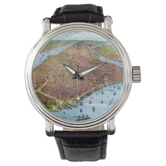 Vintage Pictorial Map of New York City (1879) Wrist Watch