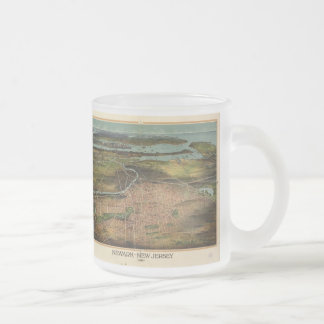 Vintage Pictorial Map of Newark NJ (1916) Frosted Glass Coffee Mug