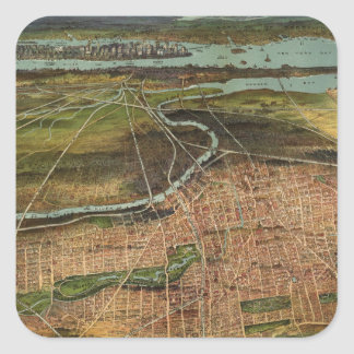 Vintage Pictorial Map of Newark NJ (1916) Square Sticker