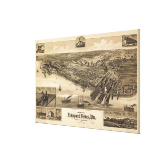 Vintage Pictorial Map of Newport News VA (1891) Canvas Print
