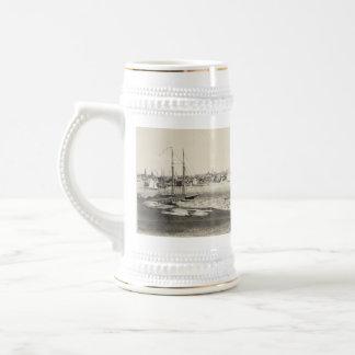 Vintage Pictorial Map of Newport RI (1860) Beer Stein