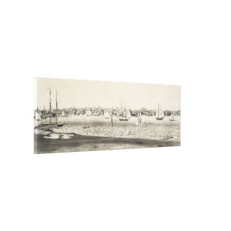 Vintage Pictorial Map of Newport RI (1860) Canvas Print