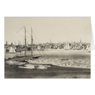Vintage Pictorial Map of Newport RI (1860) Card